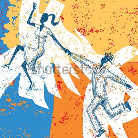 Rétro danseurs couple danse résumé séparé Photo stock © retrostar