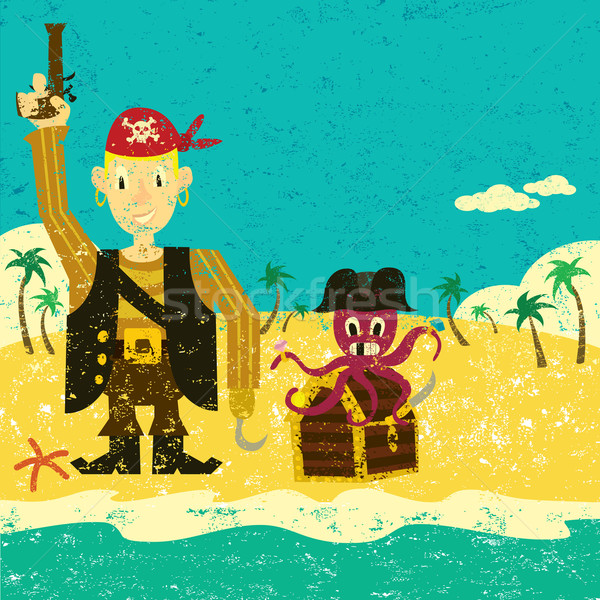 Pirate boy with an octopus Stock photo © retrostar