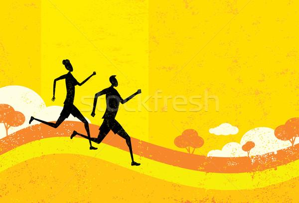 Pessoas corrida homem mulher abstrato parque Foto stock © retrostar