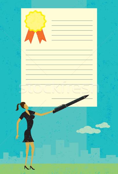 подписания договор деловая женщина большой аннотация Skyline Сток-фото © retrostar