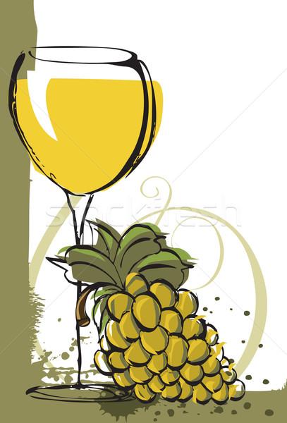 Winogron wina sztuki pić alkoholu kieliszek Zdjęcia stock © retrostar