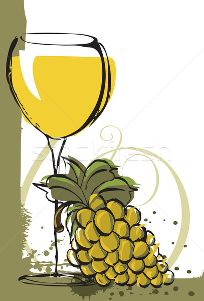 Chardonnay with grapes Stock photo © retrostar