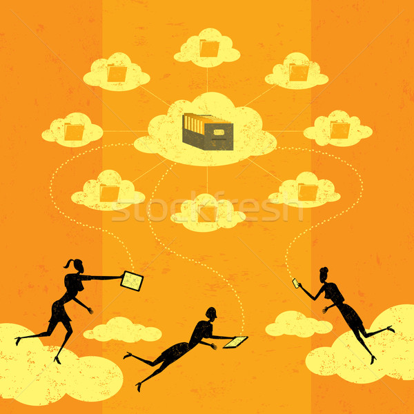 предпринимателей облаке хранения мобильных Сток-фото © retrostar