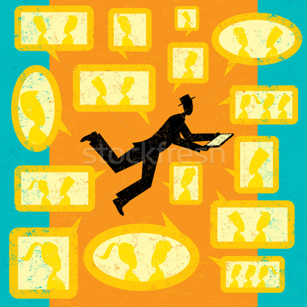 Empresário rede social digital Foto stock © retrostar
