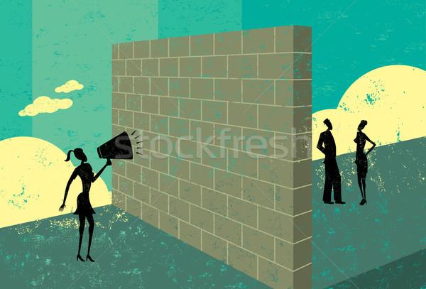 Kiált téglafal üzletasszony képesség elér potenciál Stock fotó © retrostar