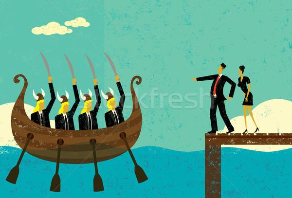 Agressivo novo concorrentes dois pessoas de negócios em pé Foto stock © retrostar