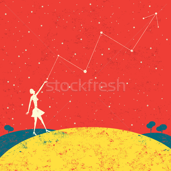 Pronóstico futuro mujer de negocios escrito estrellas Foto stock © retrostar