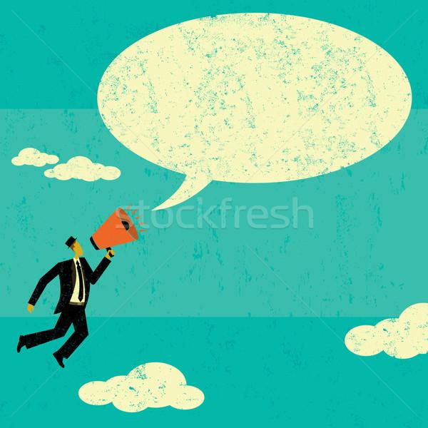 Kommunikál megafon üzletember bejelent üzenet szövegbuborék Stock fotó © retrostar