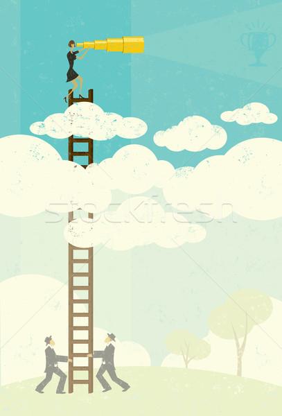 Widok z góry kobieta interesu cel przyszłości powyżej chmury Zdjęcia stock © retrostar
