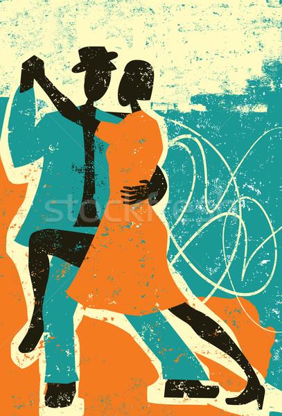 Duas pessoas dança tango homem casal silhueta Foto stock © retrostar