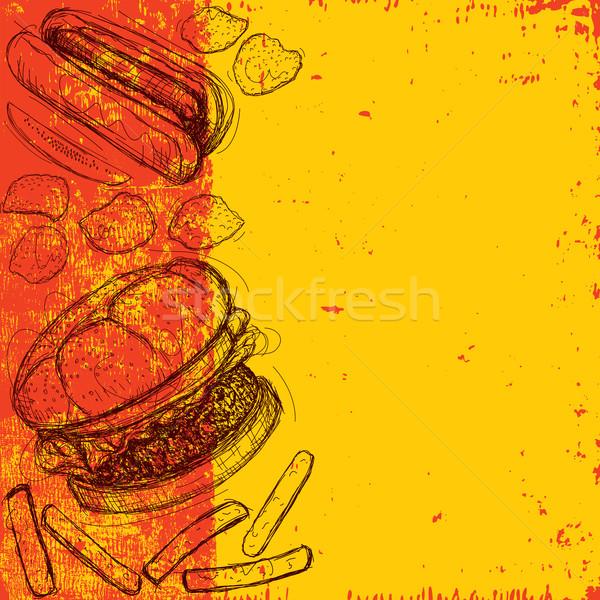 Fast food hamburger frytki ogórki konserwowe Zdjęcia stock © retrostar