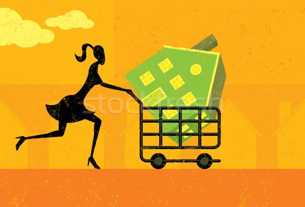 Compras casa mujer caminando cesta de la compra Foto stock © retrostar