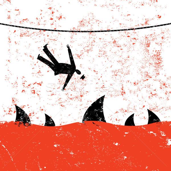 Vallen strakke koord retro zakenman haai business Stockfoto © retrostar