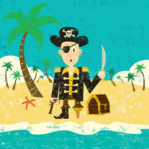 Pirate île trésor séparé art Photo stock © retrostar