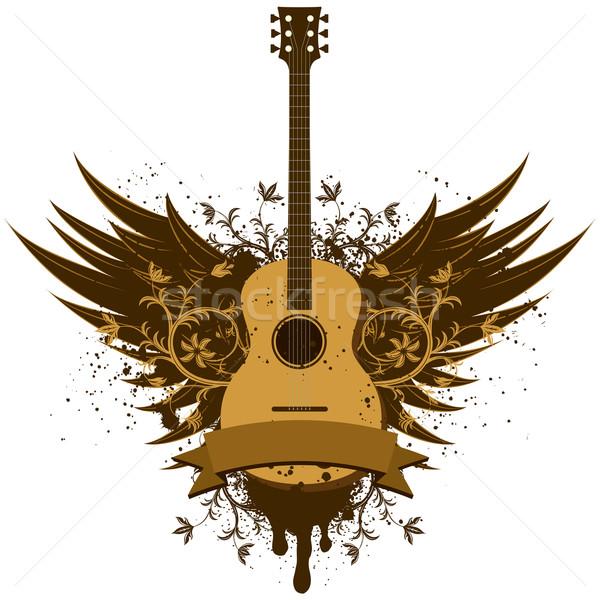 Guitarra acústica alas establecer guitarra hoja rock Foto stock © retrostar