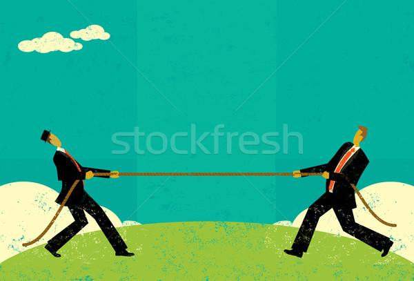 Guerra empresarios mercado hombres cuerda Foto stock © retrostar