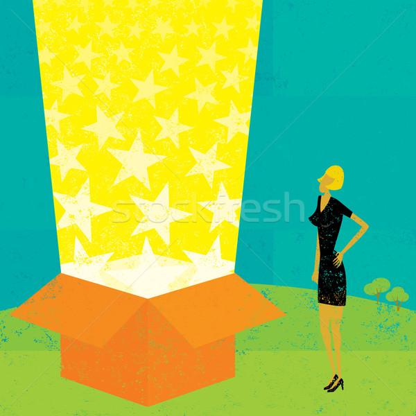 Luz viga caixa empresária olhando magia Foto stock © retrostar
