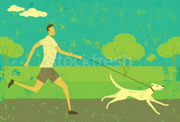 Stockfoto: Lopen · hond · man · abstract · park · apart