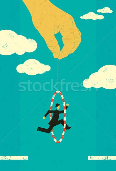прыжки бизнесмен стороны двигаться вперед человека Сток-фото © retrostar