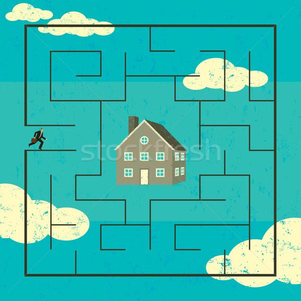 Maison homme labyrinthe trouver nouvelle maison Photo stock © retrostar