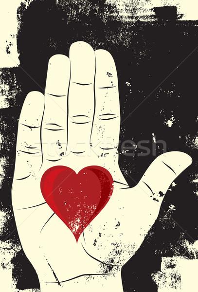 Coração palma mão amor assinar vermelho Foto stock © retrostar