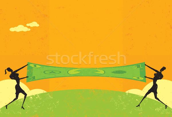 Dólar dois empresárias mulheres Foto stock © retrostar