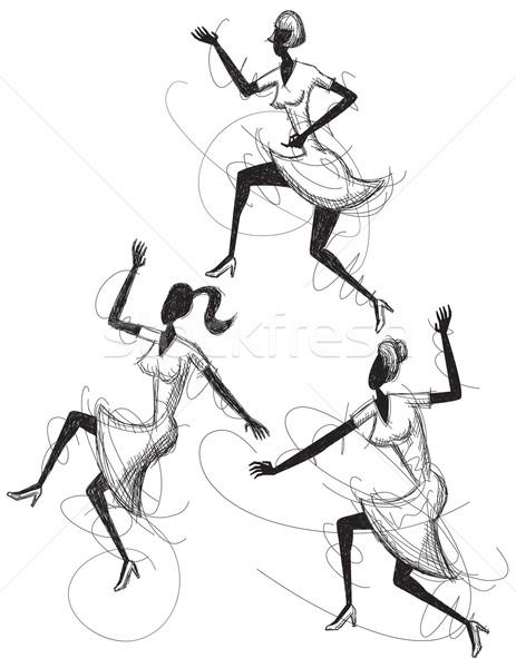 Danse femmes art dessin célébration divertissement Photo stock © retrostar