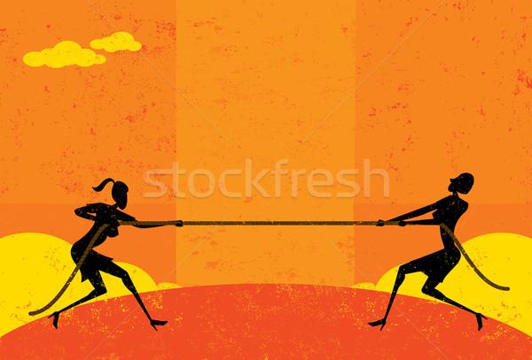 Guerra empresárias mercado mulheres corda Foto stock © retrostar