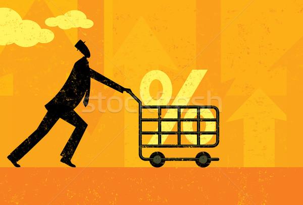 Kamatláb vásárlás férfi jó százalék bevásárlókocsi Stock fotó © retrostar