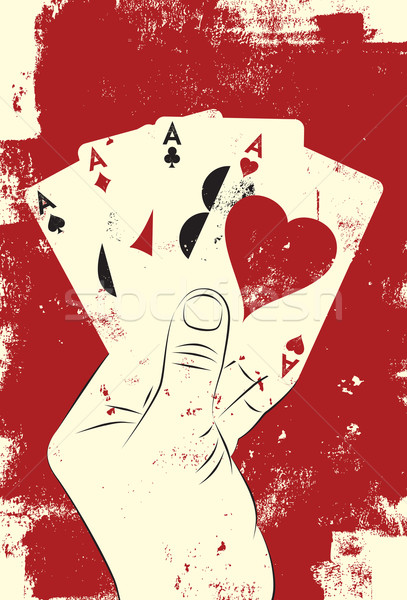 Four aces poker hand Stock photo © retrostar