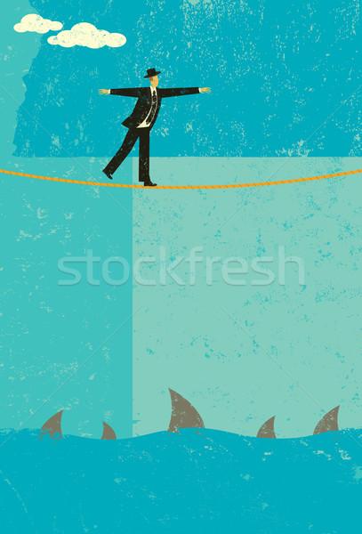туго натянутый канат ретро бизнесмен большой риск Сток-фото © retrostar