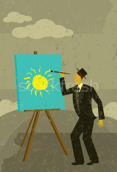 Futuro homem brilhante nublado um Foto stock © retrostar