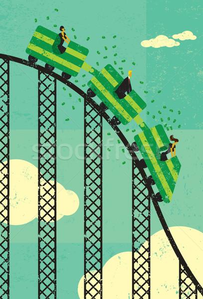 Hullámvasút gazdaság üzletemberek pénz lovaglás emberek Stock fotó © retrostar