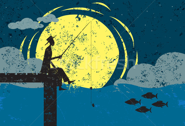 Fishing on a dock in moonlight Stock photo © retrostar