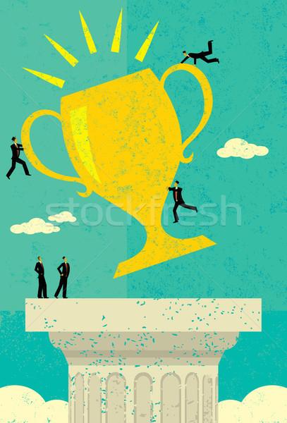 Equipe de negócios sucesso meta troféu pessoas separado Foto stock © retrostar