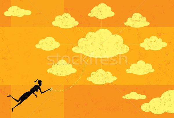 Femme d'affaires nuage serveur mobiles Photo stock © retrostar