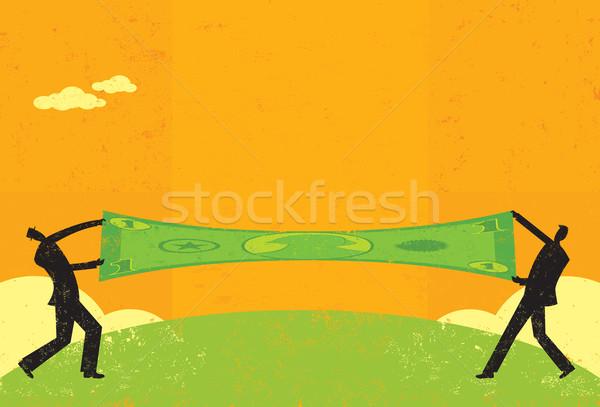 Dolar iki işadamları tasarruf ayrı Stok fotoğraf © retrostar