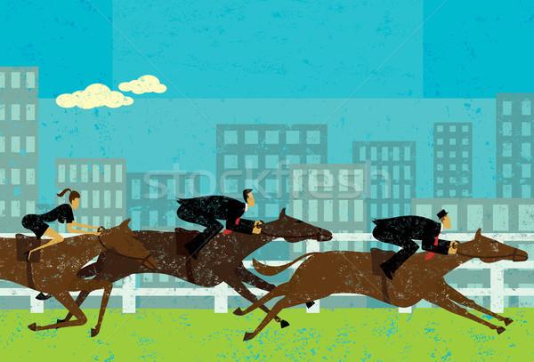 Foto stock: Gente · de · negocios · carreras · de · caballos · caballo · carrera · objetivo · caballos