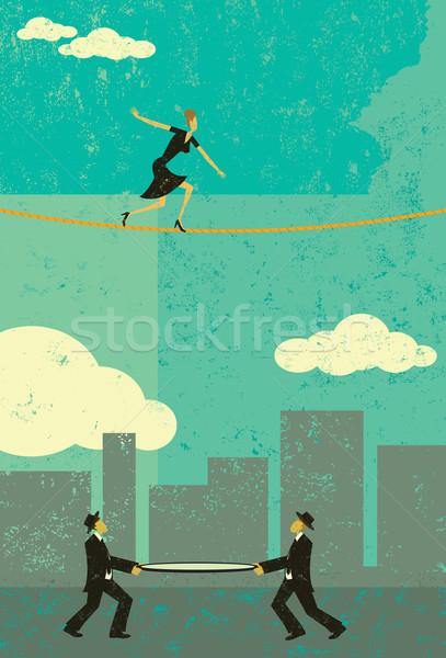 ходьбе туго натянутый канат ретро деловая женщина двое мужчин безопасности Сток-фото © retrostar