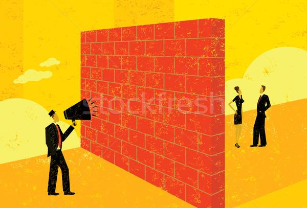 Kiált téglafal üzletember képesség elér potenciál Stock fotó © retrostar