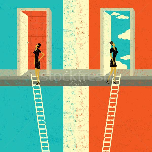 Direito dois empresárias escalada Foto stock © retrostar