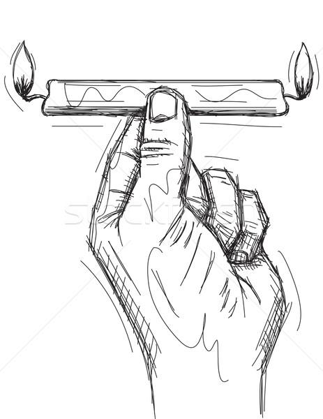 Brandend kaars beide hand licht kunst Stockfoto © retrostar