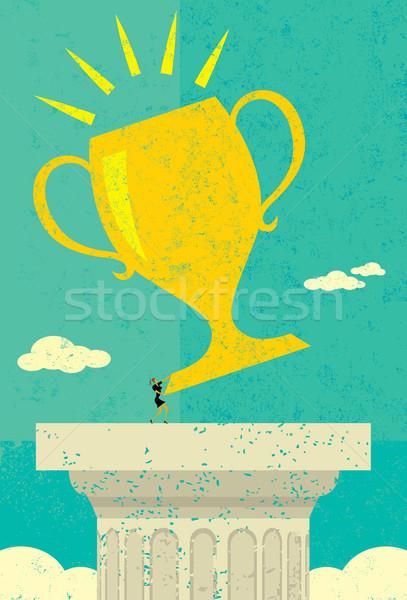 Femme d'affaires trophée objectif femme séparé Photo stock © retrostar