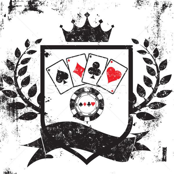 Poker tarcza karty do gry chip korony Zdjęcia stock © retrostar