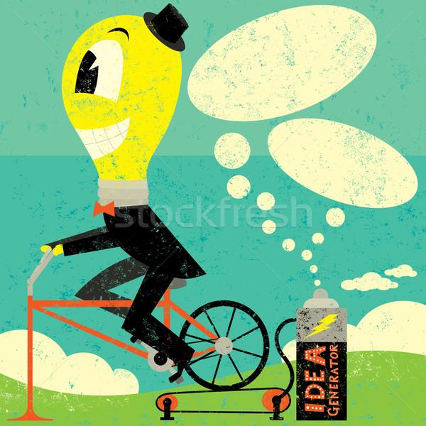 ötlet generátor villanykörte férfi adatbázis buborékok Stock fotó © retrostar