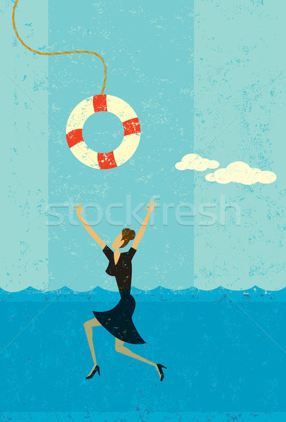 Drowning businesswoman being saved Stock photo © retrostar