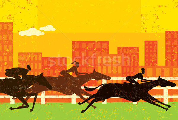 Business people horse racing Stock photo © retrostar