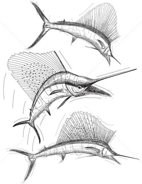 Pesca animales saltar boceto vector clip art Foto stock © retrostar
