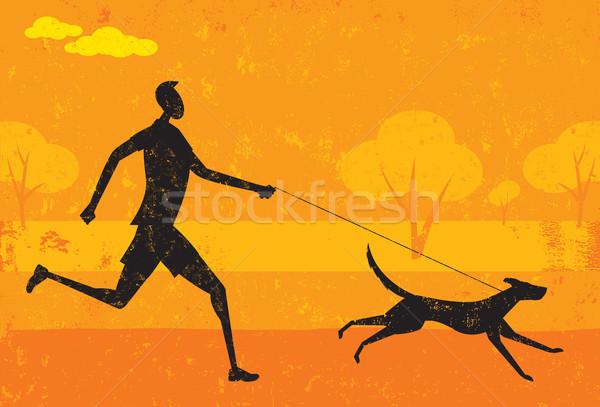 Uruchomiony psa człowiek streszczenie parku wykonywania Zdjęcia stock © retrostar
