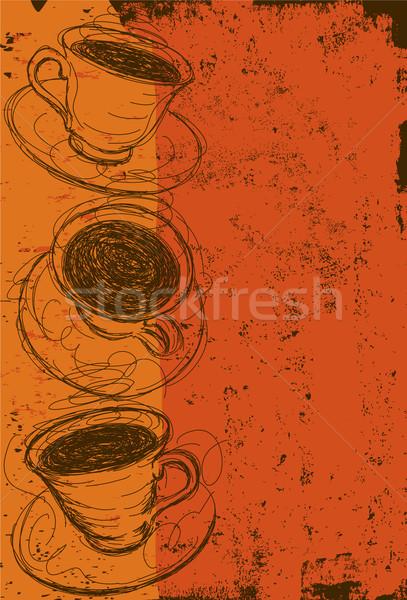 Tasses de café résumé boire tasse dessin tasse de café Photo stock © retrostar